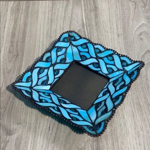 Partylite blue stained glass candle holder